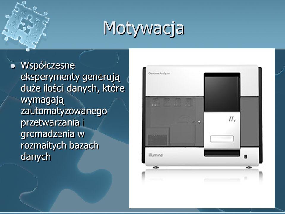 Motywacja Współczesne eksperymenty generują duże ilości danych, które wymagają zautomatyzowanego przetwarzania i gromadzenia w rozmaitych bazach danyc