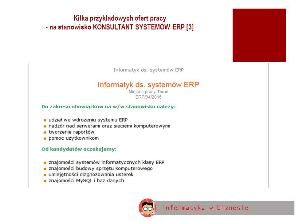 Kilka przykładowych ofert pracy - na stanowisko KONSULTANT SYSTEMÓW ERP [3]