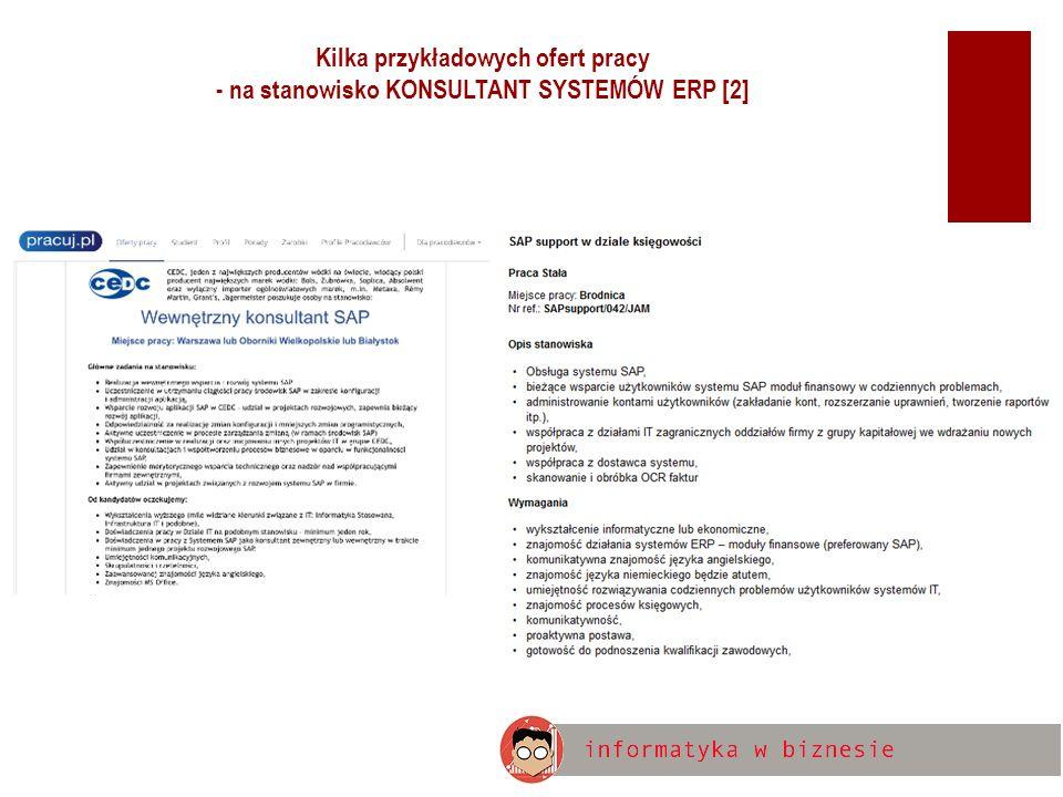 Kilka przykładowych ofert pracy - na stanowisko KONSULTANT SYSTEMÓW ERP [2]