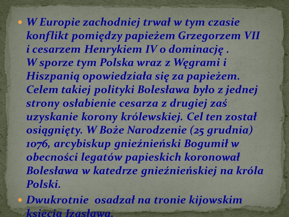 W Europie zachodniej trwał w tym czasie konflikt pomiędzy papieżem Grzegorzem VII i cesarzem Henrykiem IV o dominację. W sporze tym Polska wraz z Węgr