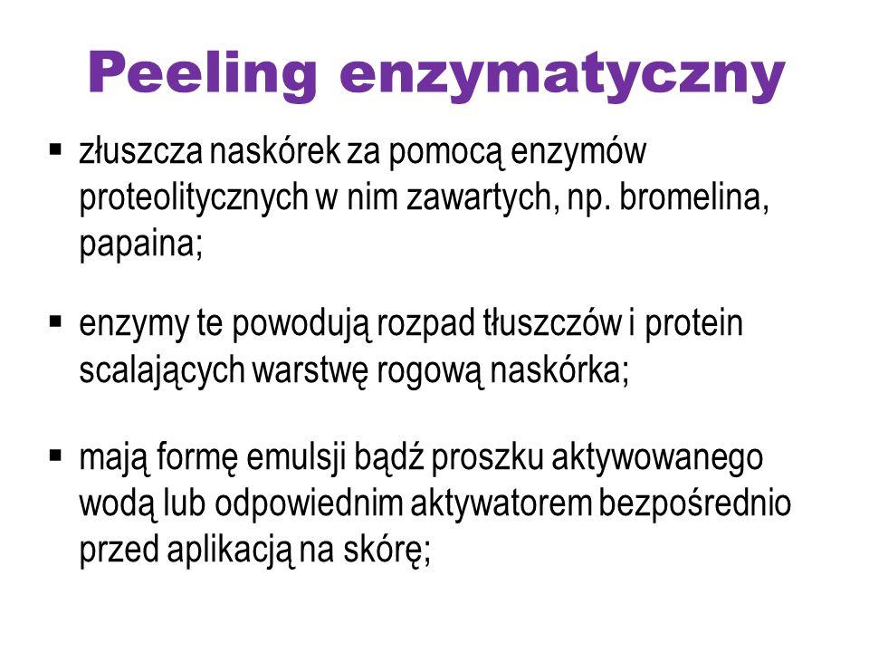 Peeling enzymatyczny  złuszcza naskórek za pomocą enzymów proteolitycznych w nim zawartych, np. bromelina, papaina;  enzymy te powodują rozpad tłusz