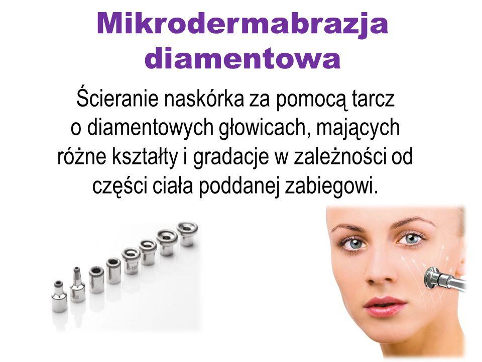 Mikrodermabrazja diamentowa Ścieranie naskórka za pomocą tarcz o diamentowych głowicach, mających różne kształty i gradacje w zależności od części cia