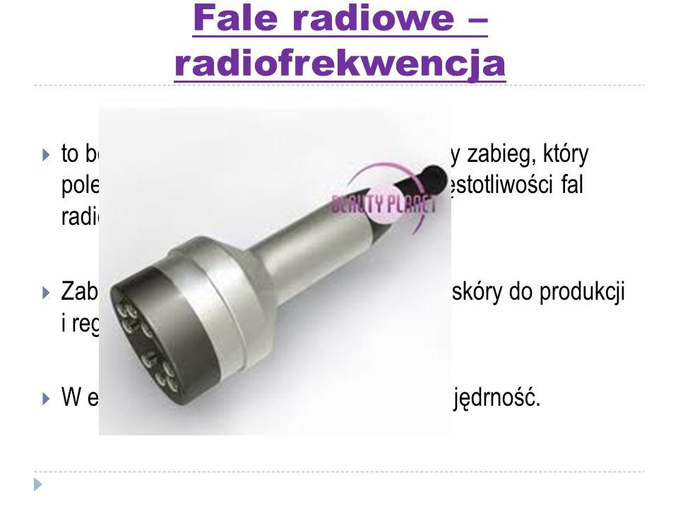 Fale radiowe – radiofrekwencja  to bezinwazyjny, komfortowy i bezbolesny zabieg, który polega na stymulacji skóry prądami o częstotliwości fal radiow