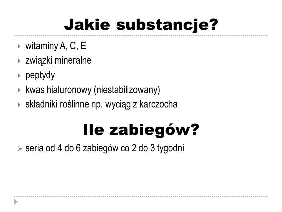 Jakie substancje?  witaminy A, C, E  związki mineralne  peptydy  kwas hialuronowy (niestabilizowany)  składniki roślinne np. wyciąg z karczocha I