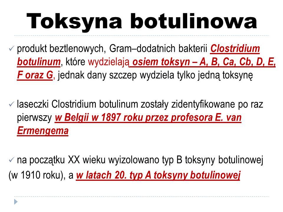 Toksyna botulinowa w 1978 roku okulista dr Alan Scott przeprowadził pierwsze zabiegi na ludziach z wykorzystaniem BTX–A do leczenia zeza szczepy chorobotwórcze dla człowieka najczęściej produkują toksyny A, B i E toksyny A–F należą do neurotoksyn w medycynie estetycznej wykorzystuje się toksynę botulinową typu A (np.: preparaty Botox, Dysport, Vistabel)