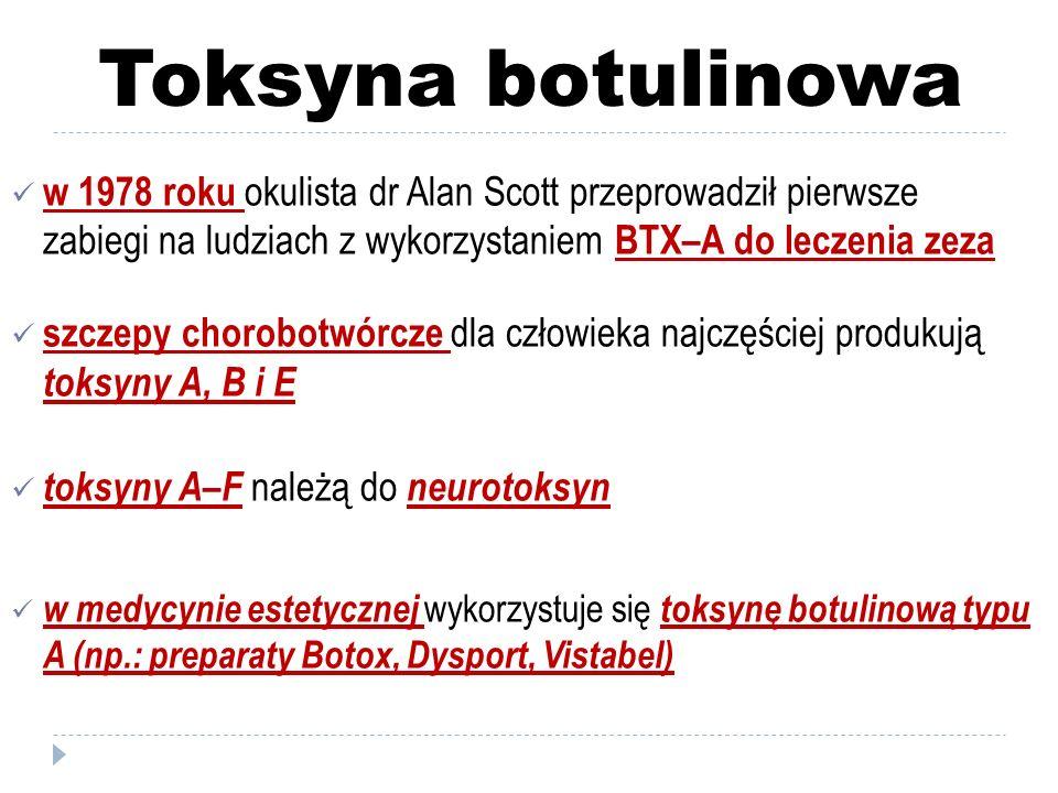 Toksyna botulinowa w 1978 roku okulista dr Alan Scott przeprowadził pierwsze zabiegi na ludziach z wykorzystaniem BTX–A do leczenia zeza szczepy choro