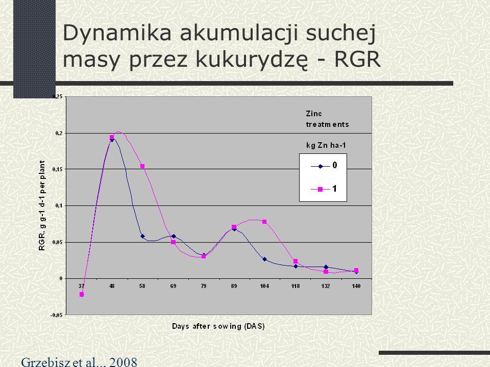 Dynamika akumulacji suchej masy przez kukurydzę - RGR Grzebisz et al.., 2008