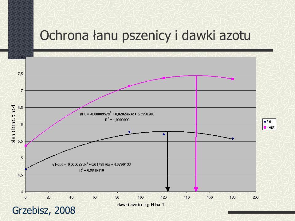 Ochrona łanu pszenicy i dawki azotu Grzebisz, 2008