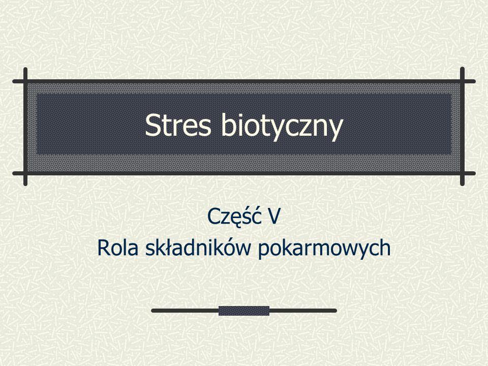 Stres biotyczny Część V Rola składników pokarmowych