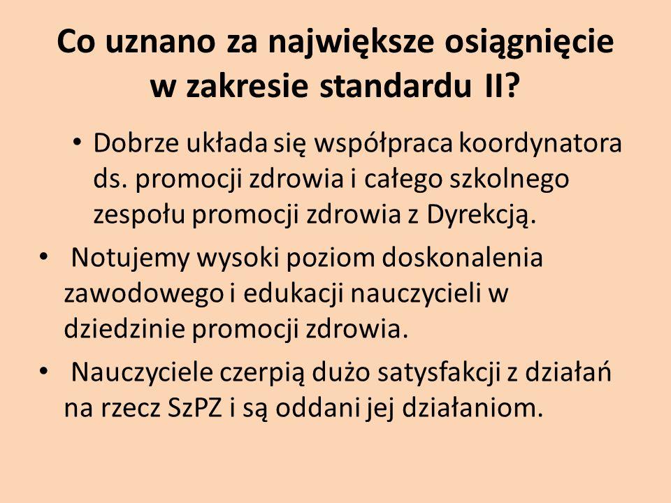 Co uznano za największe osiągnięcie w zakresie standardu II? Dobrze układa się współpraca koordynatora ds. promocji zdrowia i całego szkolnego zespołu