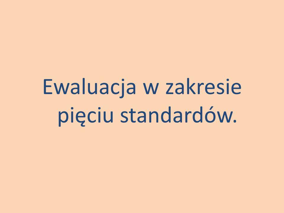 Ewaluacja w zakresie pięciu standardów.
