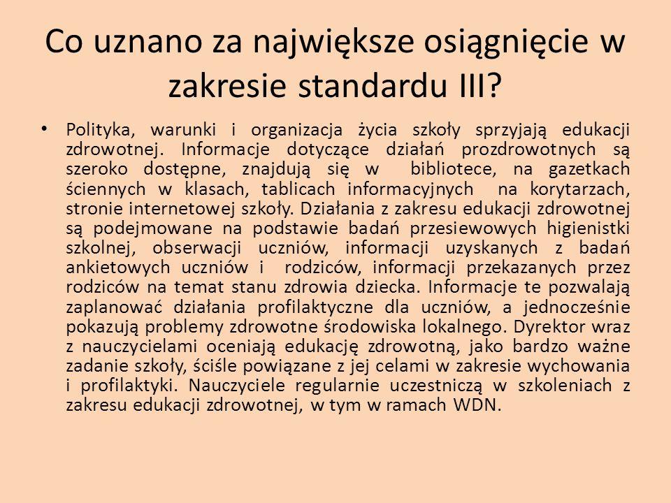 Co uznano za największe osiągnięcie w zakresie standardu III? Polityka, warunki i organizacja życia szkoły sprzyjają edukacji zdrowotnej. Informacje d
