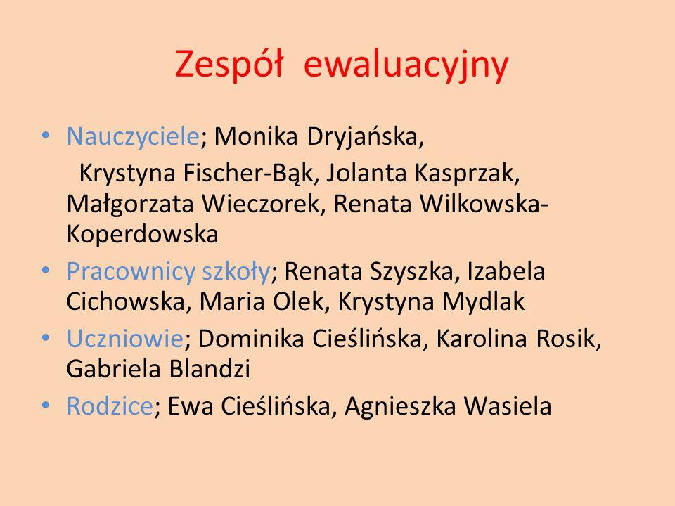Zespół ewaluacyjny Nauczyciele; Monika Dryjańska, Krystyna Fischer-Bąk, Jolanta Kasprzak, Małgorzata Wieczorek, Renata Wilkowska- Koperdowska Pracowni