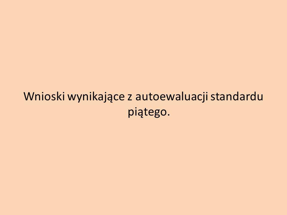 Wnioski wynikające z autoewaluacji standardu piątego.