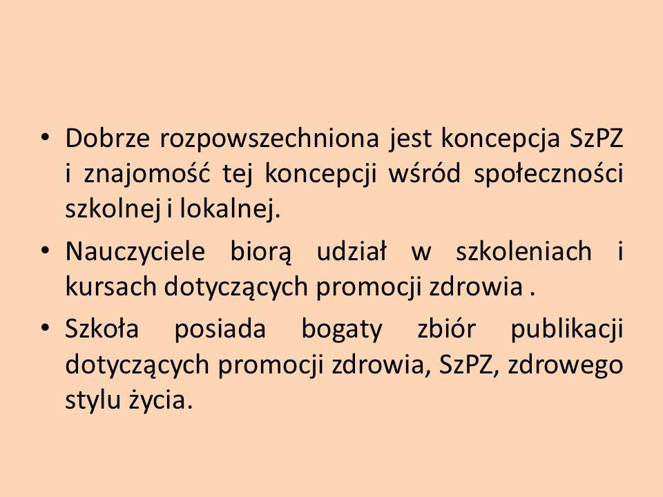 Dobrze rozpowszechniona jest koncepcja SzPZ i znajomość tej koncepcji wśród społeczności szkolnej i lokalnej.