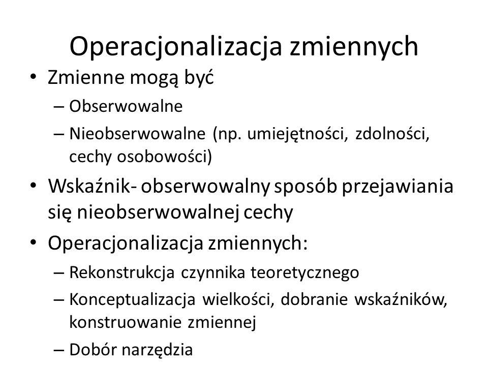 Operacjonalizacja zmiennych Zmienne mogą być – Obserwowalne – Nieobserwowalne (np.