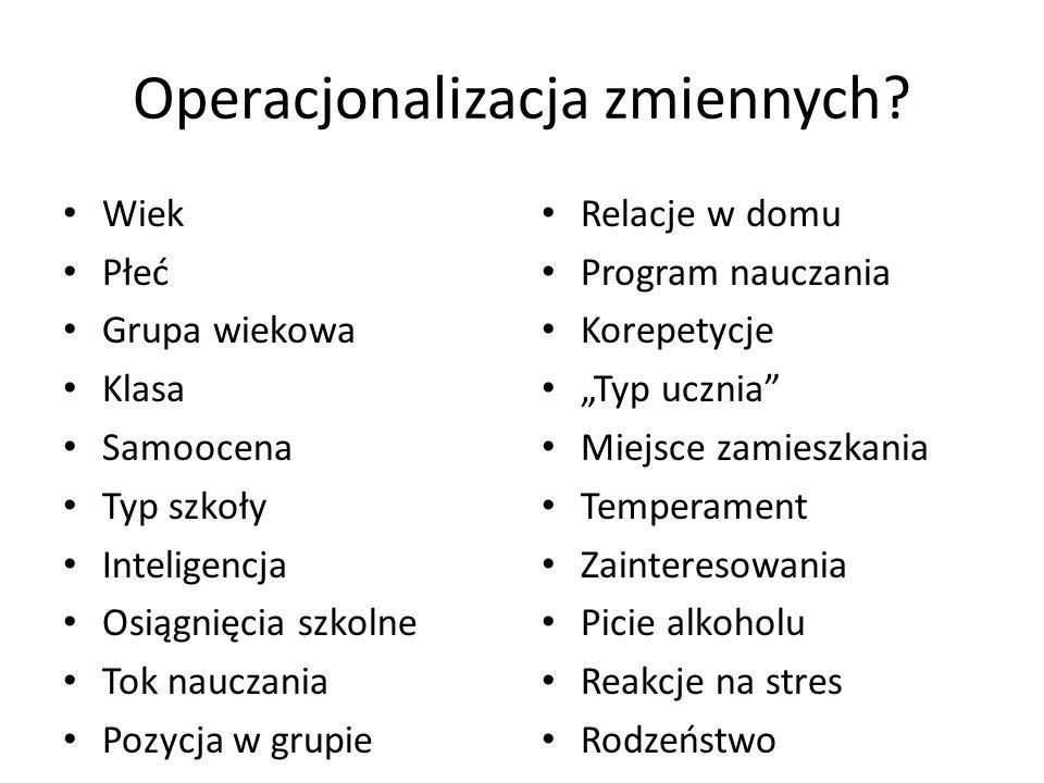 Operacjonalizacja zmiennych.