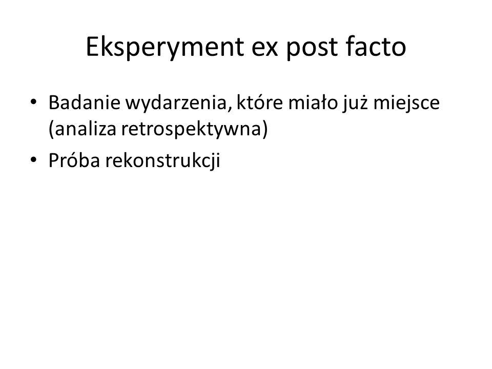 Eksperyment ex post facto Badanie wydarzenia, które miało już miejsce (analiza retrospektywna) Próba rekonstrukcji