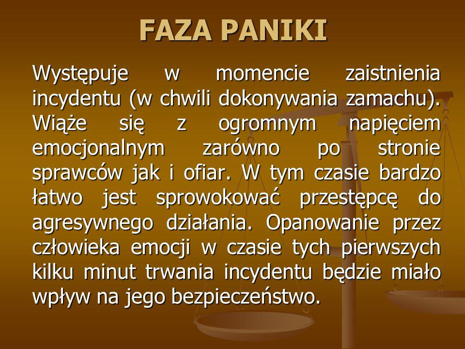 FAZA PANIKI Występuje w momencie zaistnienia incydentu (w chwili dokonywania zamachu).