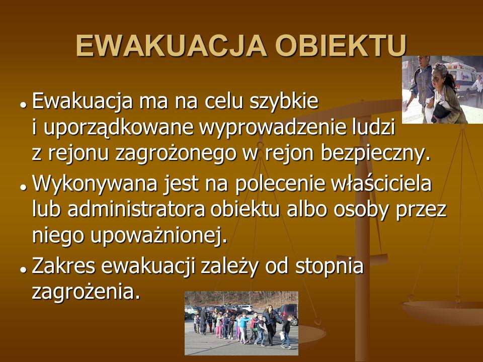 EWAKUACJA OBIEKTU Ewakuacja ma na celu szybkie i uporządkowane wyprowadzenie ludzi z rejonu zagrożonego w rejon bezpieczny.