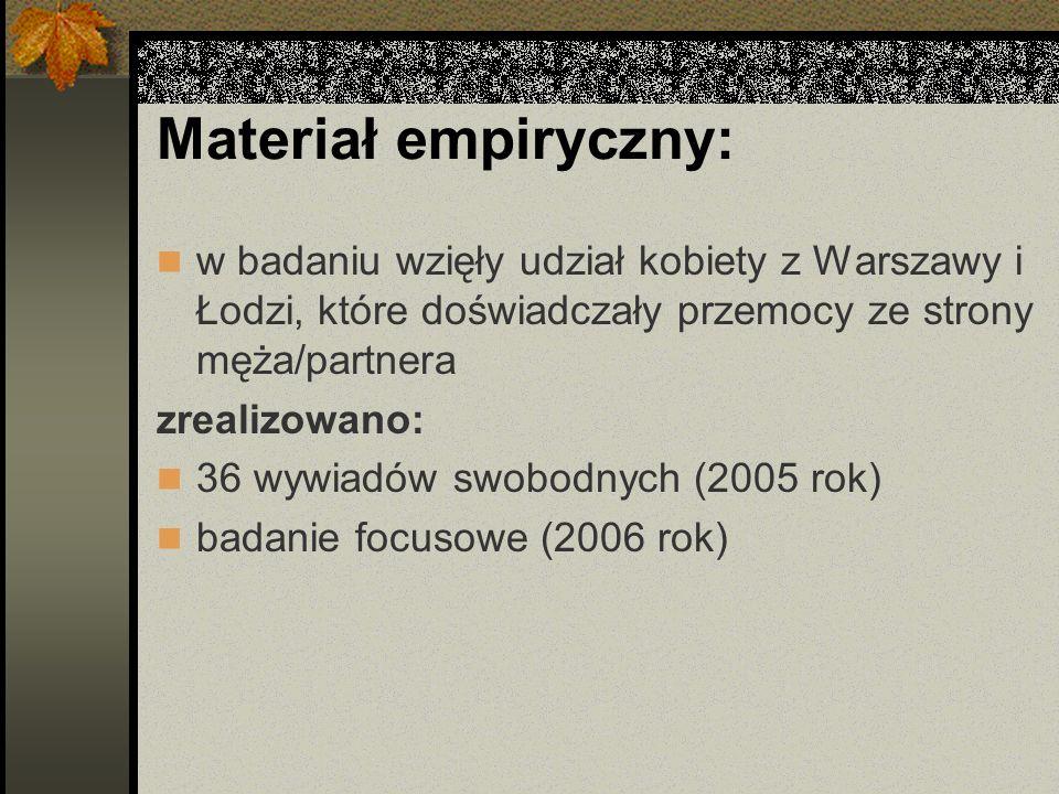 Materiał empiryczny: w badaniu wzięły udział kobiety z Warszawy i Łodzi, które doświadczały przemocy ze strony męża/partnera zrealizowano: 36 wywiadów swobodnych (2005 rok) badanie focusowe (2006 rok)