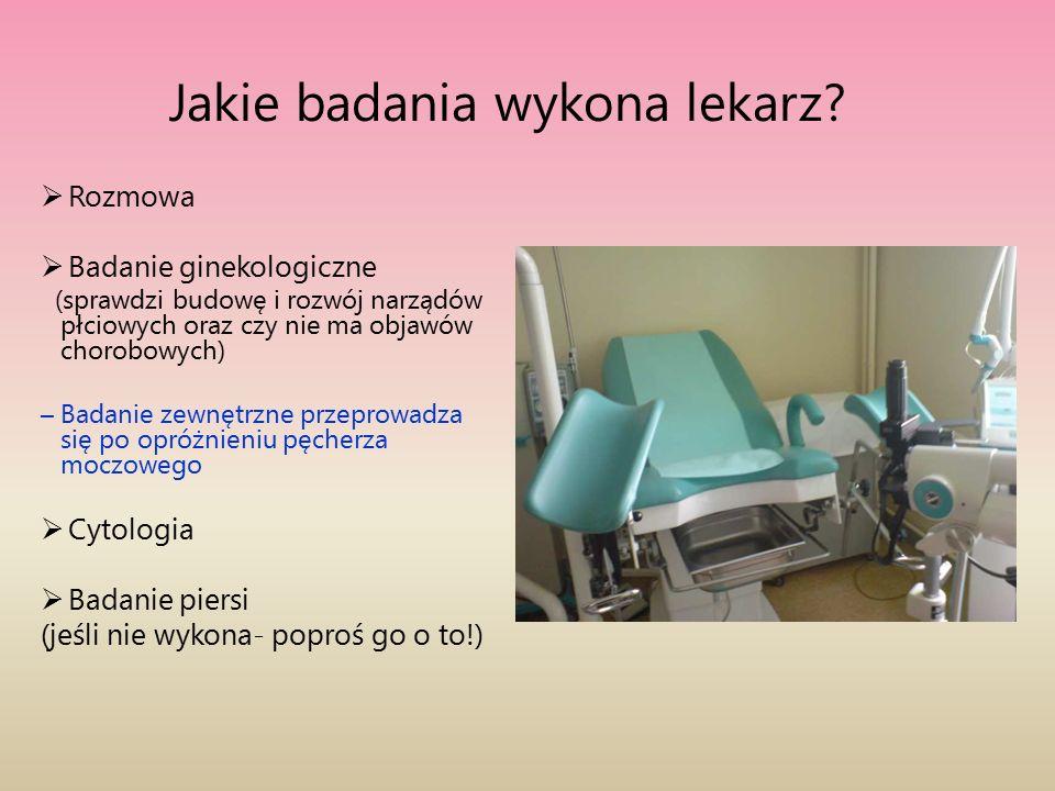 Jakie badania wykona lekarz?  Rozmowa  Badanie ginekologiczne (sprawdzi budowę i rozwój narządów płciowych oraz czy nie ma objawów chorobowych) – Ba