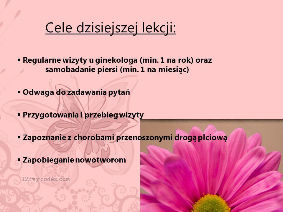 Cele dzisiejszej lekcji:  Regularne wizyty u ginekologa (min. 1 na rok) oraz samobadanie piersi (min. 1 na miesiąc)  Odwaga do zadawania pytań  Prz