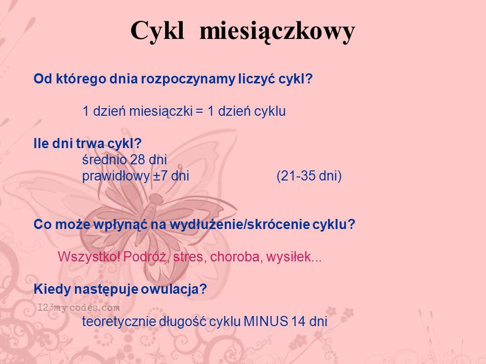 Cykl miesiączkowy Od którego dnia rozpoczynamy liczyć cykl? 1 dzień miesiączki = 1 dzień cyklu Ile dni trwa cykl? średnio 28 dni prawidłowy ±7 dni (21