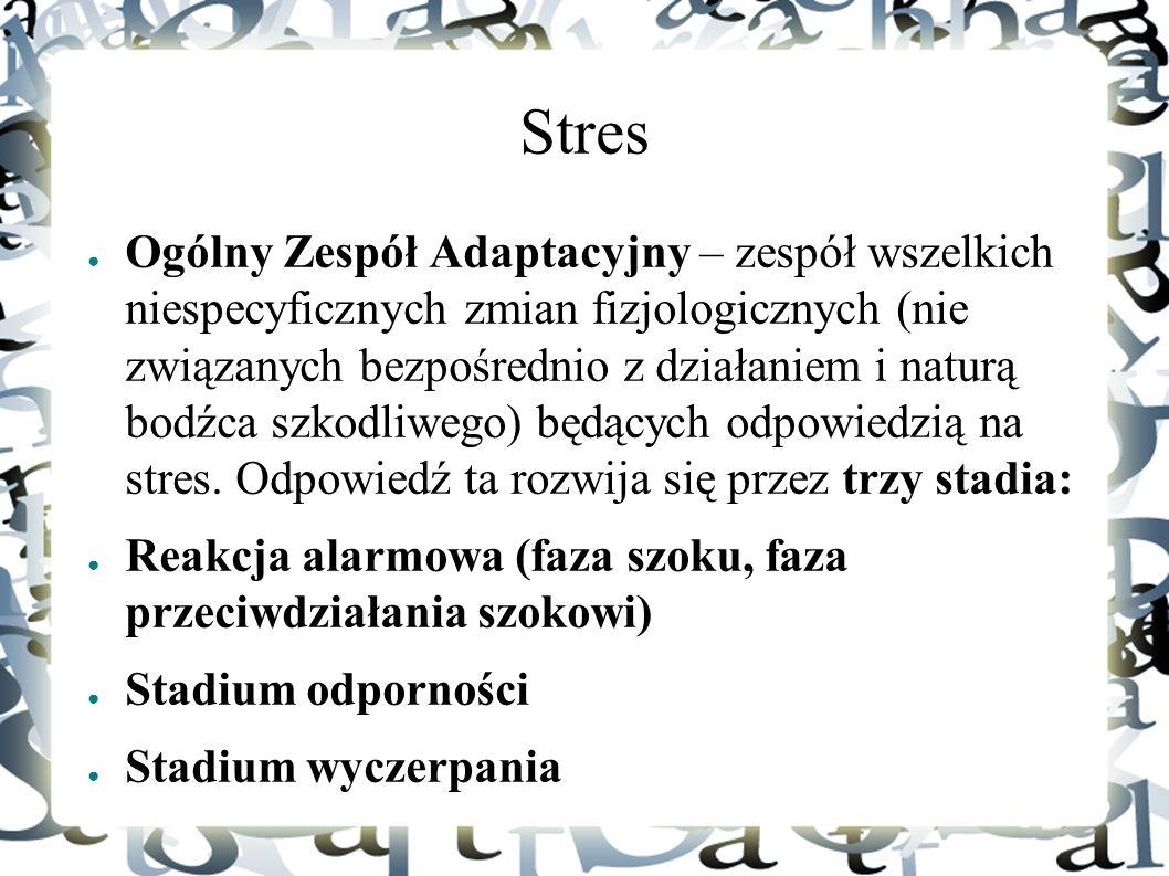 Stres ● Ogólny Zespół Adaptacyjny – zespół wszelkich niespecyficznych zmian fizjologicznych (nie związanych bezpośrednio z działaniem i naturą bodźca