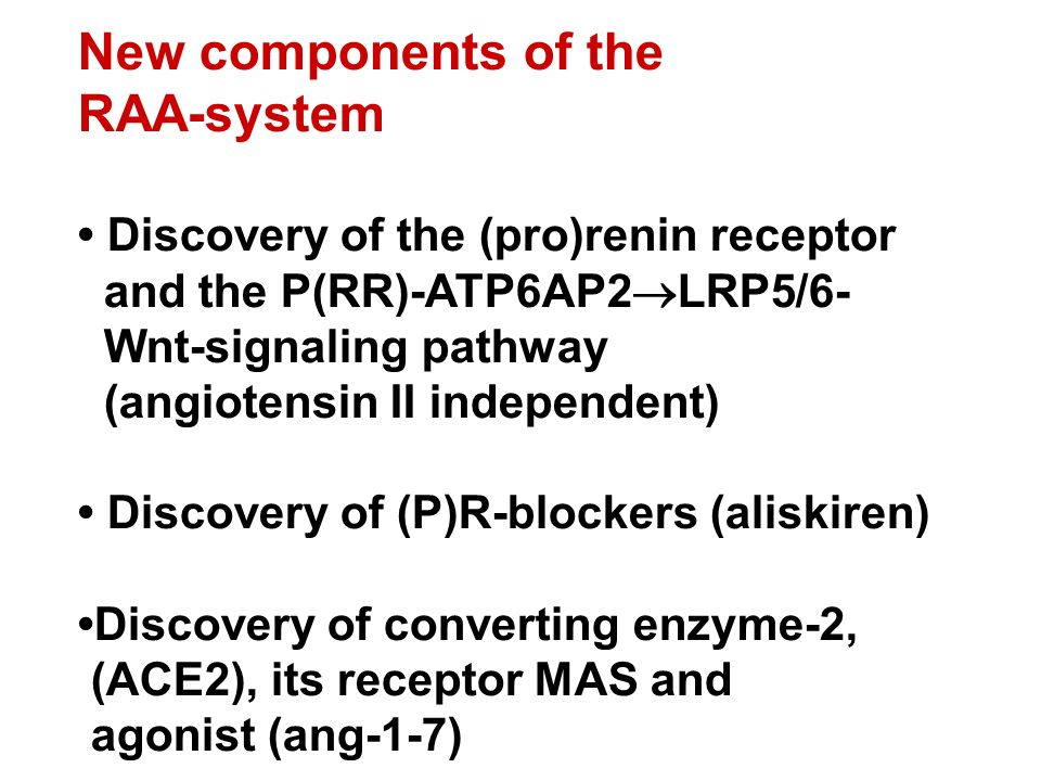 New components of the RAA-system Discovery of the (pro)renin receptor and the P(RR)-ATP6AP2  LRP5/6- Wnt-signaling pathway (angiotensin II independent) Discovery of (P)R-blockers (aliskiren) Discovery of converting enzyme-2, (ACE2), its receptor MAS and agonist (ang-1-7)