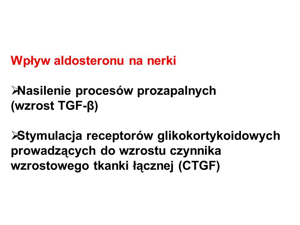 Wpływ aldosteronu na nerki  Nasilenie procesów prozapalnych (wzrost TGF-β)  Stymulacja receptorów glikokortykoidowych prowadzących do wzrostu czynnika wzrostowego tkanki łącznej (CTGF)