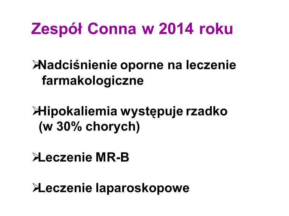 Zespół Conna w 2014 roku  Nadciśnienie oporne na leczenie farmakologiczne  Hipokaliemia występuje rzadko (w 30% chorych)  Leczenie MR-B  Leczenie laparoskopowe