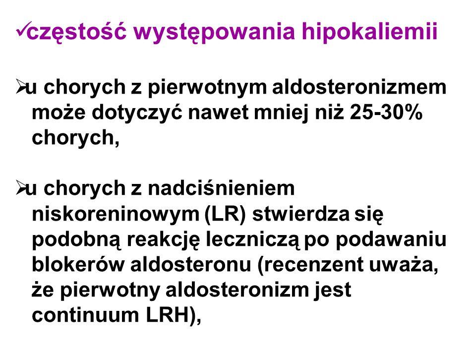 częstość występowania hipokaliemii  u chorych z pierwotnym aldosteronizmem może dotyczyć nawet mniej niż 25-30% chorych,  u chorych z nadciśnieniem niskoreninowym (LR) stwierdza się podobną reakcję leczniczą po podawaniu blokerów aldosteronu (recenzent uważa, że pierwotny aldosteronizm jest continuum LRH),