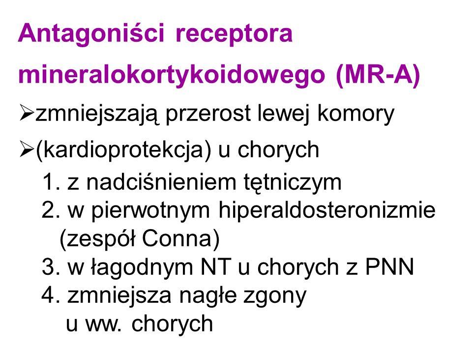Antagoniści receptora mineralokortykoidowego (MR-A)  zmniejszają przerost lewej komory  (kardioprotekcja) u chorych 1. z nadciśnieniem tętniczym 2.