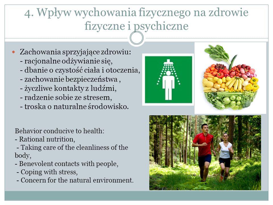 4. Wpływ wychowania fizycznego na zdrowie fizyczne i psychiczne Zachowania sprzyjające zdrowiu: - racjonalne odżywianie się, - dbanie o czystość ciała