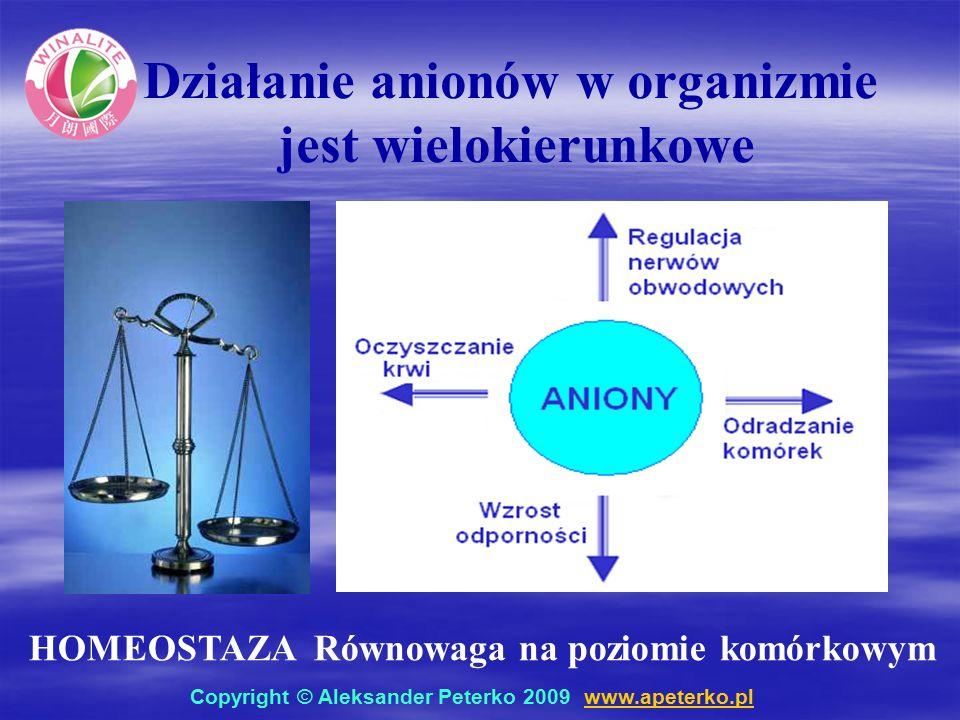 Działanie anionów w organizmie jest wielokierunkowe HOMEOSTAZA Równowaga na poziomie komórkowym Copyright © Aleksander Peterko 2009 www.apeterko.pl www.apeterko.pl