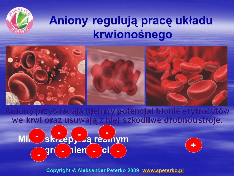 Mikro skrzepy są realnym zagrożeniem życia + - - - - - - - - Aniony regulują pracę układu krwionośnego Copyright © Aleksander Peterko 2009 www.apeterko.pl www.apeterko.pl