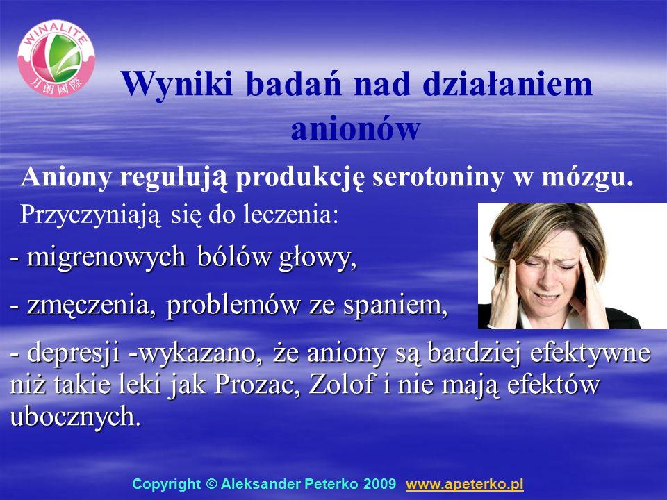 - migrenowych bólów głowy, - zmęczenia, problemów ze spaniem, - depresji -wykazano, że aniony są bardziej efektywne niż takie leki jak Prozac, Zolof i nie mają efektów ubocznych.