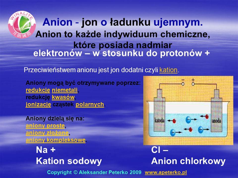 Aniony mogą być otrzymywane poprzez: redukcjęredukcję niemetali,niemetali redukcję kwasów,kwasów jonizacjęjonizację cząstek polarnych.polarnych Aniony dzielą się na: aniony prosteaniony proste, aniony złożoneaniony złożone, aniony kompleksoweaniony kompleksowe.