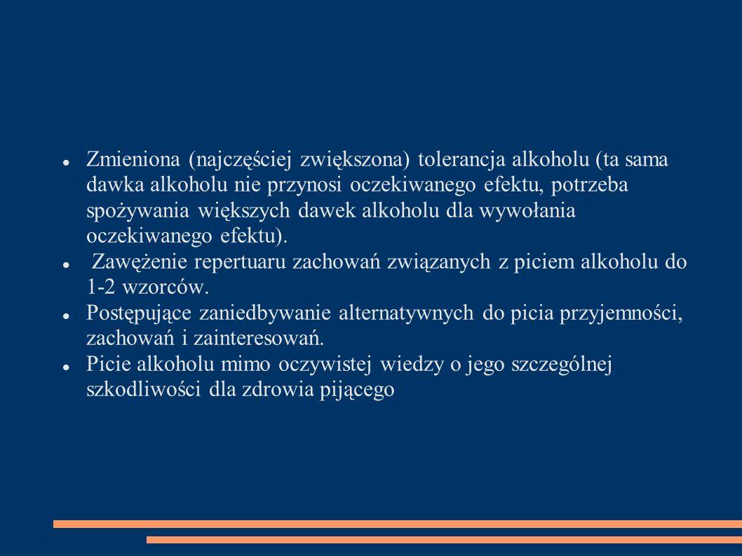 Zmieniona (najczęściej zwiększona) tolerancja alkoholu (ta sama dawka alkoholu nie przynosi oczekiwanego efektu, potrzeba spożywania większych dawek a