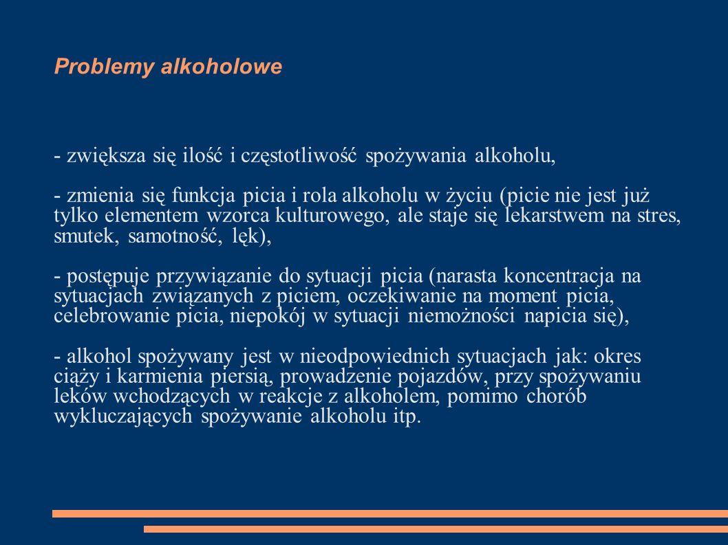 Problemy alkoholowe - zwiększa się ilość i częstotliwość spożywania alkoholu, - zmienia się funkcja picia i rola alkoholu w życiu (picie nie jest już