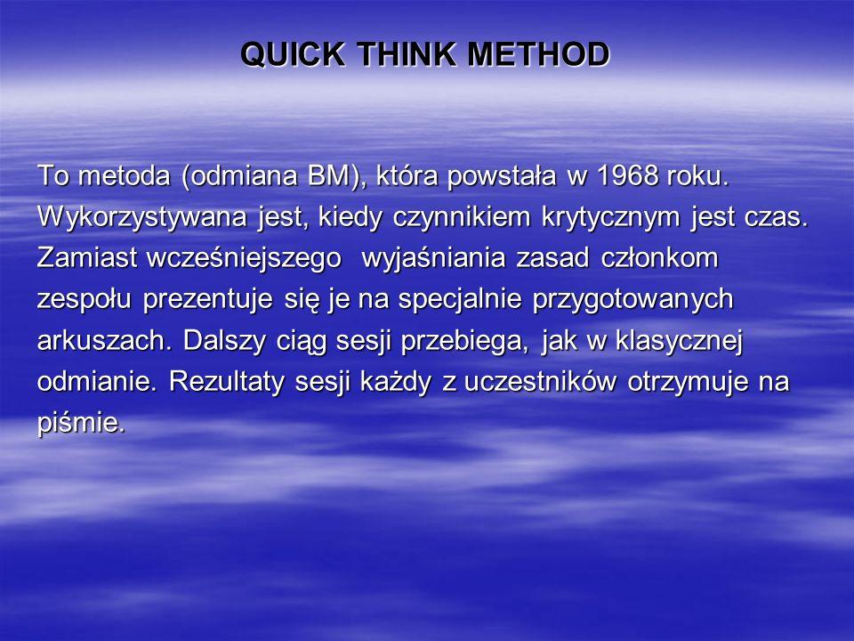 QUICK THINK METHOD To metoda (odmiana BM), która powstała w 1968 roku.