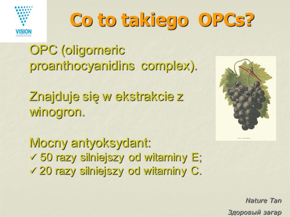 Nature Tan Здоровый загар Co to takiego OPCs? OPC (oligomeric proanthocyanidins complex). Znajduje się w ekstrakcie z winogron. Mocny antyoksydant: 50