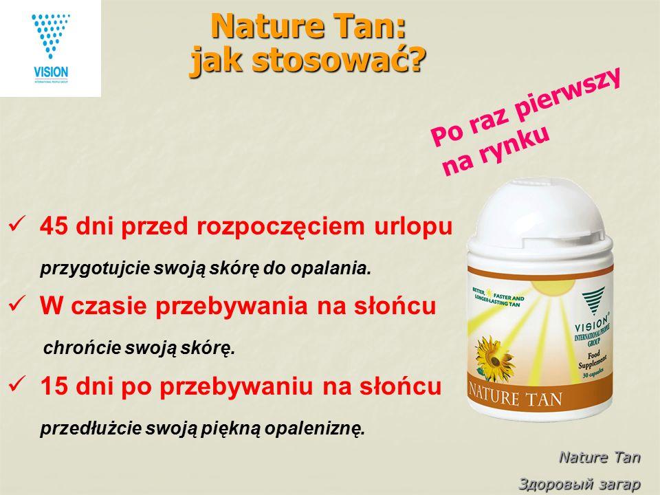 Nature Tan Здоровый загар Nature Tan: jak stosować? 45 dni przed rozpoczęciem urlopu przygotujcie swoją skórę do opalania. W czasie przebywania na sło