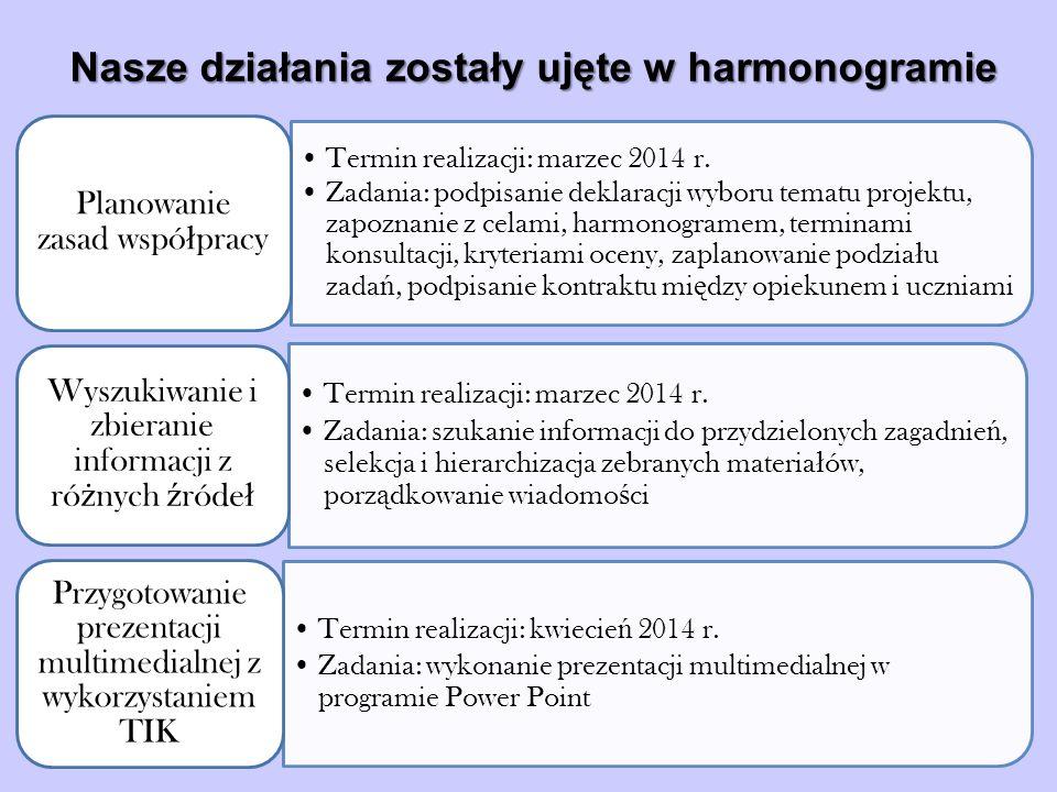 Termin realizacji: marzec 2014 r.
