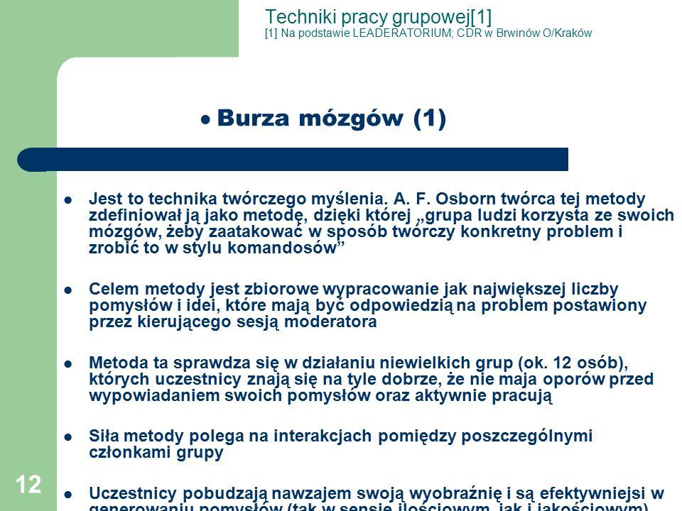 12 Techniki pracy grupowej[1] [1] Na podstawie LEADERATORIUM; CDR w Brwinów O/Kraków Burza mózgów (1) Jest to technika twórczego myślenia.