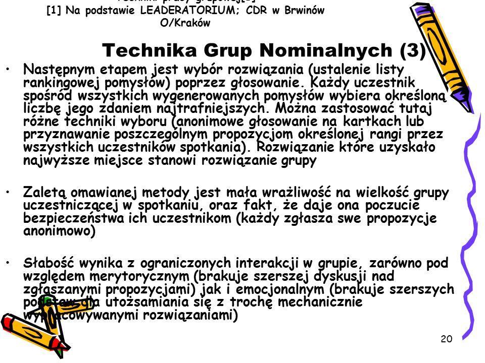 20 Techniki pracy grupowej[1] [1] Na podstawie LEADERATORIUM; CDR w Brwinów O/Kraków Technika Grup Nominalnych (3) Następnym etapem jest wybór rozwiązania (ustalenie listy rankingowej pomysłów) poprzez głosowanie.