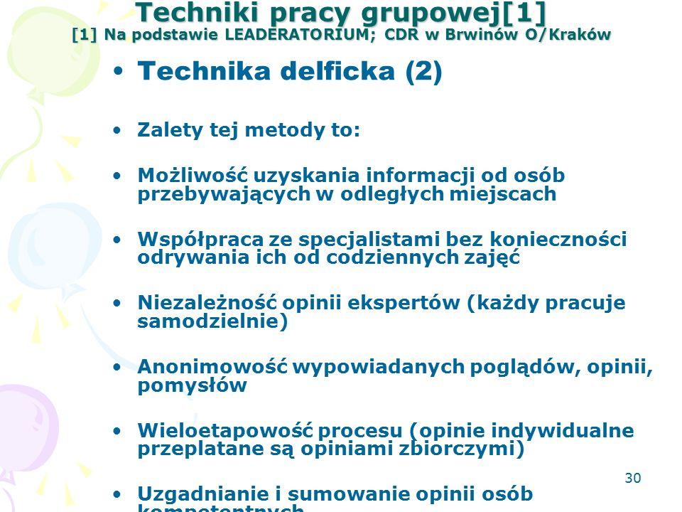 30 Techniki pracy grupowej[1] [1] Na podstawie LEADERATORIUM; CDR w Brwinów O/Kraków Technika delficka (2) Zalety tej metody to: Możliwość uzyskania informacji od osób przebywających w odległych miejscach Współpraca ze specjalistami bez konieczności odrywania ich od codziennych zajęć Niezależność opinii ekspertów (każdy pracuje samodzielnie) Anonimowość wypowiadanych poglądów, opinii, pomysłów Wieloetapowość procesu (opinie indywidualne przeplatane są opiniami zbiorczymi) Uzgadnianie i sumowanie opinii osób kompetentnych