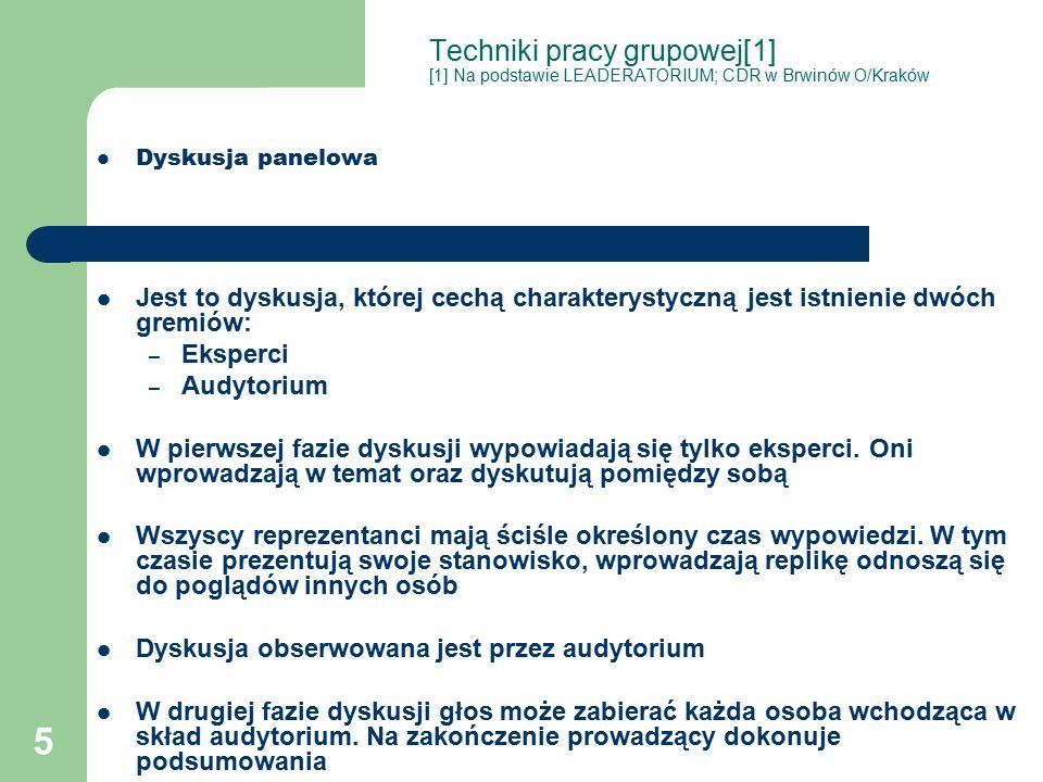 5 Techniki pracy grupowej[1] [1] Na podstawie LEADERATORIUM; CDR w Brwinów O/Kraków Dyskusja panelowa Jest to dyskusja, której cechą charakterystyczną jest istnienie dwóch gremiów: – Eksperci – Audytorium W pierwszej fazie dyskusji wypowiadają się tylko eksperci.
