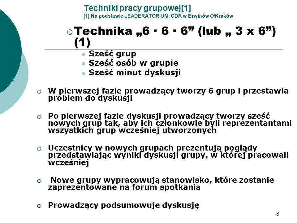 """8 Techniki pracy grupowej[1] [1] Na podstawie LEADERATORIUM; CDR w Brwinów O/Kraków  Technika """"6 · 6 · 6 (lub """" 3 x 6 ) (1) Sześć grup Sześć osób w grupie Sześć minut dyskusji  W pierwszej fazie prowadzący tworzy 6 grup i przestawia problem do dyskusji  Po pierwszej fazie dyskusji prowadzący tworzy sześć nowych grup tak, aby ich członkowie byli reprezentantami wszystkich grup wcześniej utworzonych  Uczestnicy w nowych grupach prezentują poglądy przedstawiając wyniki dyskusji grupy, w której pracowali wcześniej  Nowe grupy wypracowują stanowisko, które zostanie zaprezentowane na forum spotkania  Prowadzący podsumowuje dyskusję"""